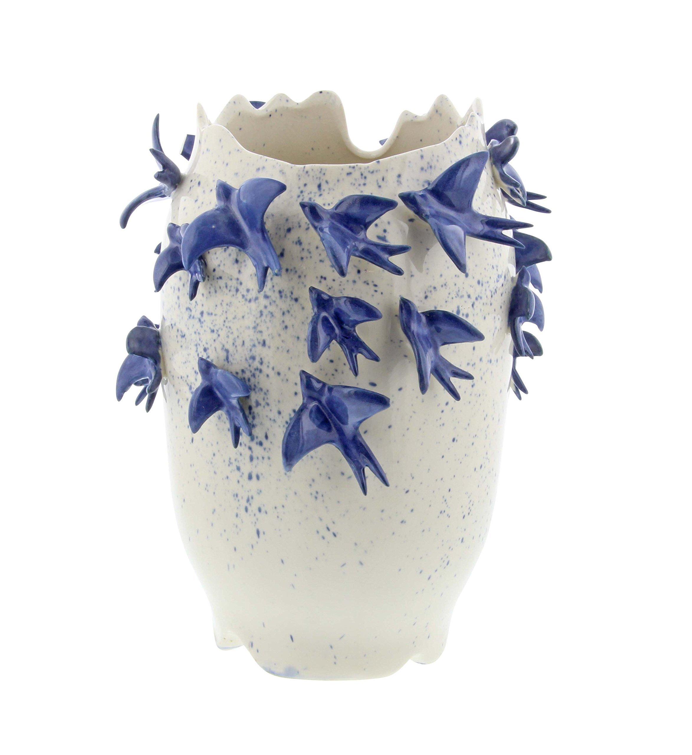 Deco 79 62182 Ceramic Bird Vase, 12'' x 9'', White/Blue