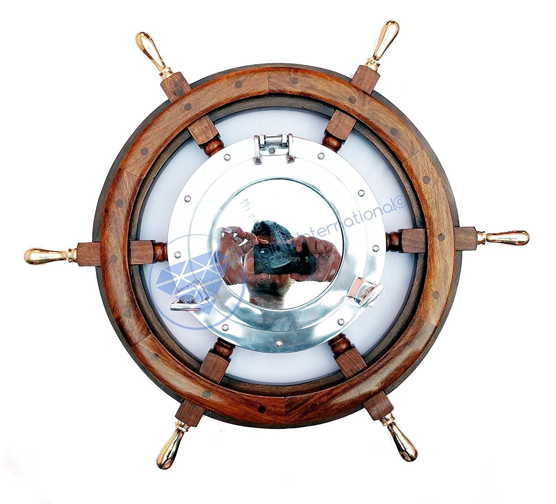 Nautical Brass Handle Aluminum Porthole Mirror Ship Wheel | Beach Decor Gift | Nagina International (36 Inches)