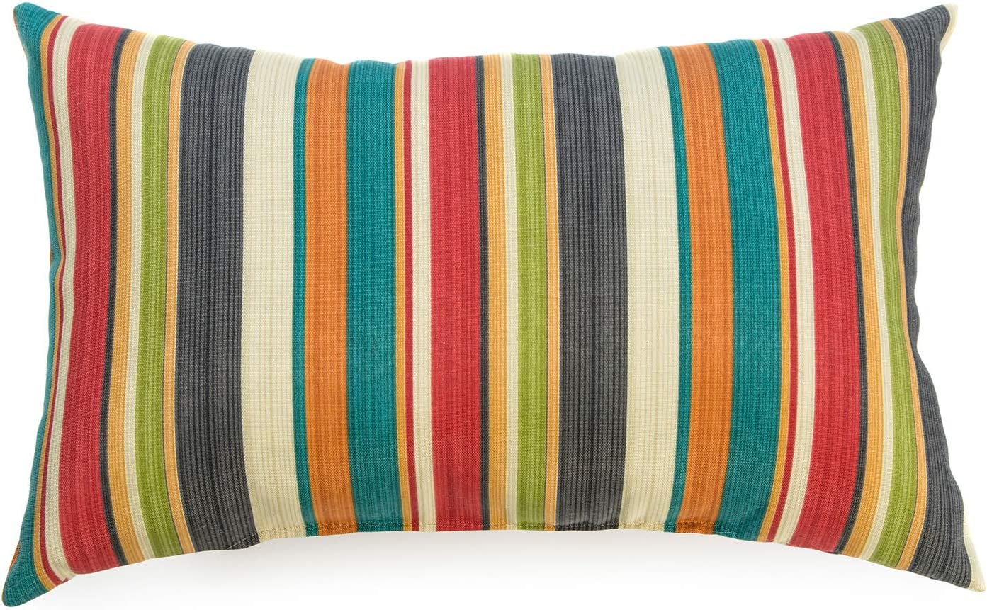 Greendale Home Fashions AZ5811S2-SUNSET Adobe Stripe Outdoor Rectangle Throw Pillow (Set of 2)