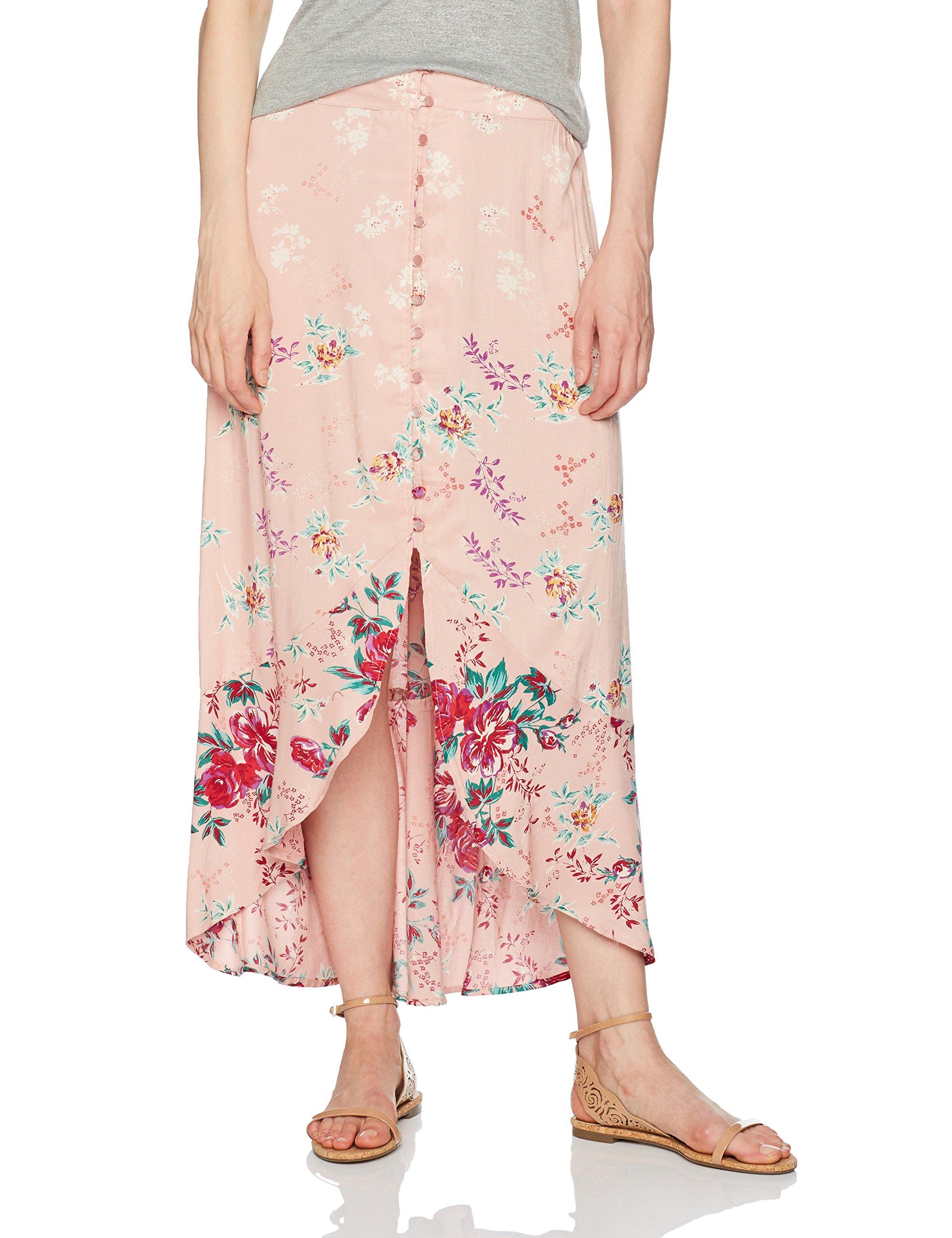 Angie Women's Rose Printed Button Front Ruffle Hem Skirt, Rose Tone, Large