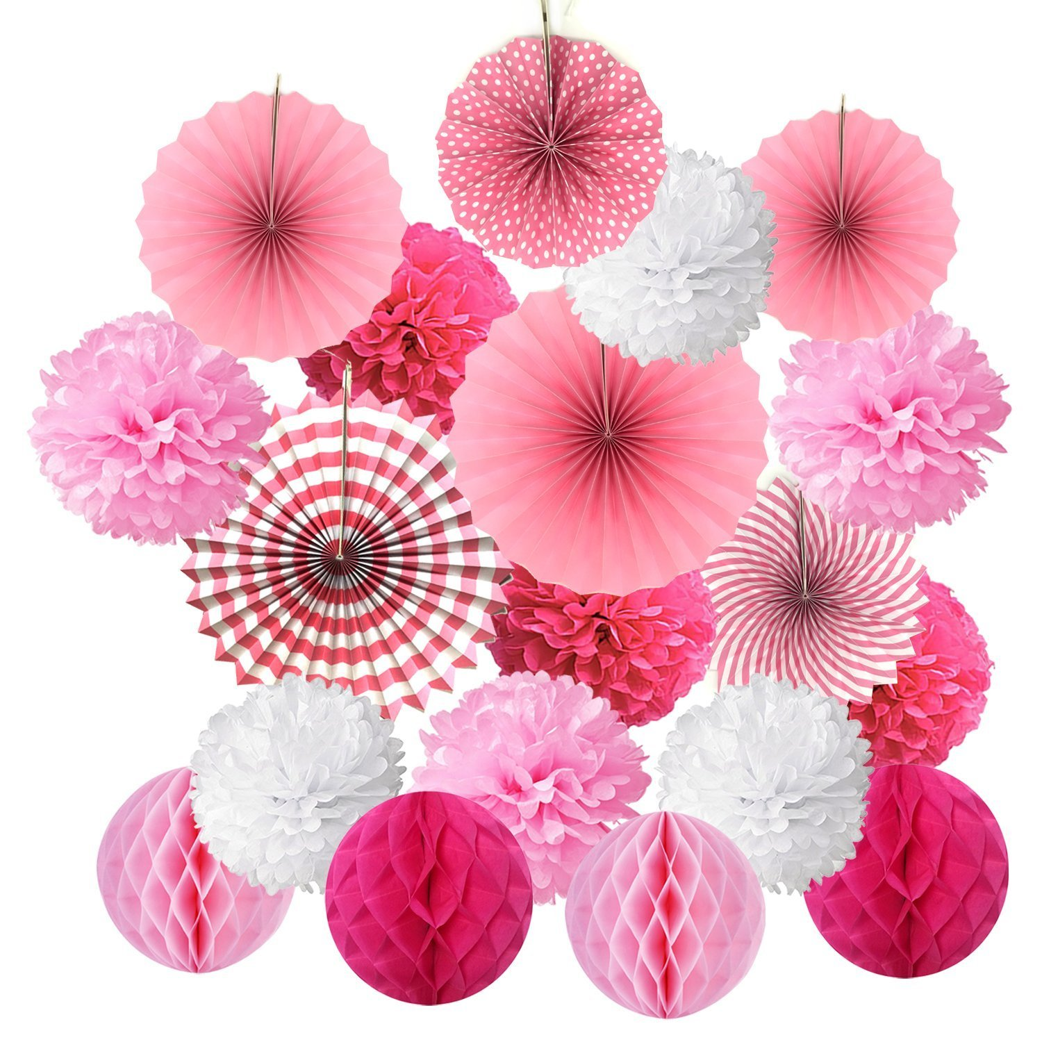 20pcs Hanging Paper Fans Set, Tissue Paper Pom Poms Flower Honeycomb Balls Garlands Decorations for Christmas Party Birthday Wedding Mexican Fiesta Events Accessories, Home Decor Supplies (Blue) FENGMANG