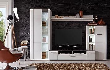 Trendteam Smart Living Anbauwand Dakota, Wohnwand, Schrankwand,  Wohnzimmerschrank, 4 Teilig, Weiß