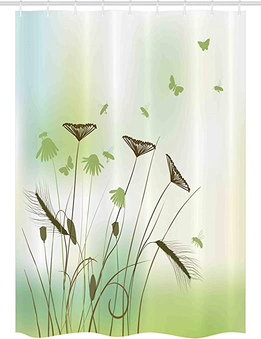 Amazon Com Ambesonne Butterfly Stall Shower Curtain Silhouette Of Dragonflies Bees Butterflies Flying All Over The Flowers Spring Theme Fabric Bathroom Decor Set With Hooks 54 X 78 Green Home Kitchen