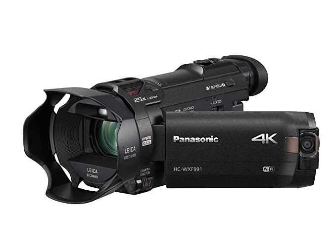PANASONIC HC-WXF991K 4K Cinema-Like Camcorder, 20X Leica DICOMAR Lens, 1/2.3″ BSI Sensor, 5-Axis Hybrid O.I.S, HDR Mode, EVF, WiFi, Multi Scene Twin Camera (USA Black)