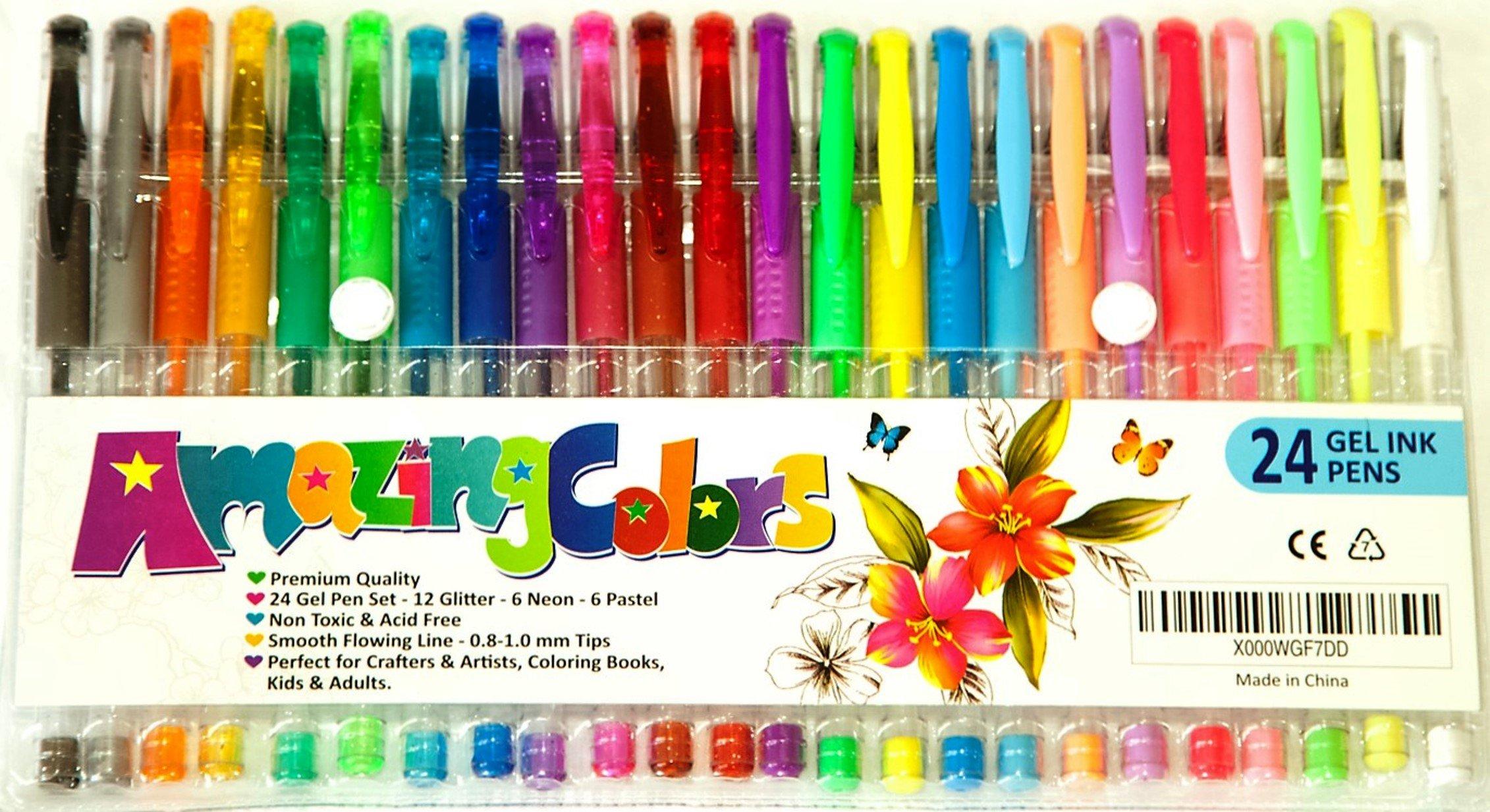 Gel Pens Set 24 Pack By Amazingcolors - Non-Toxic Water Resistant Ink Pen Set.. 18