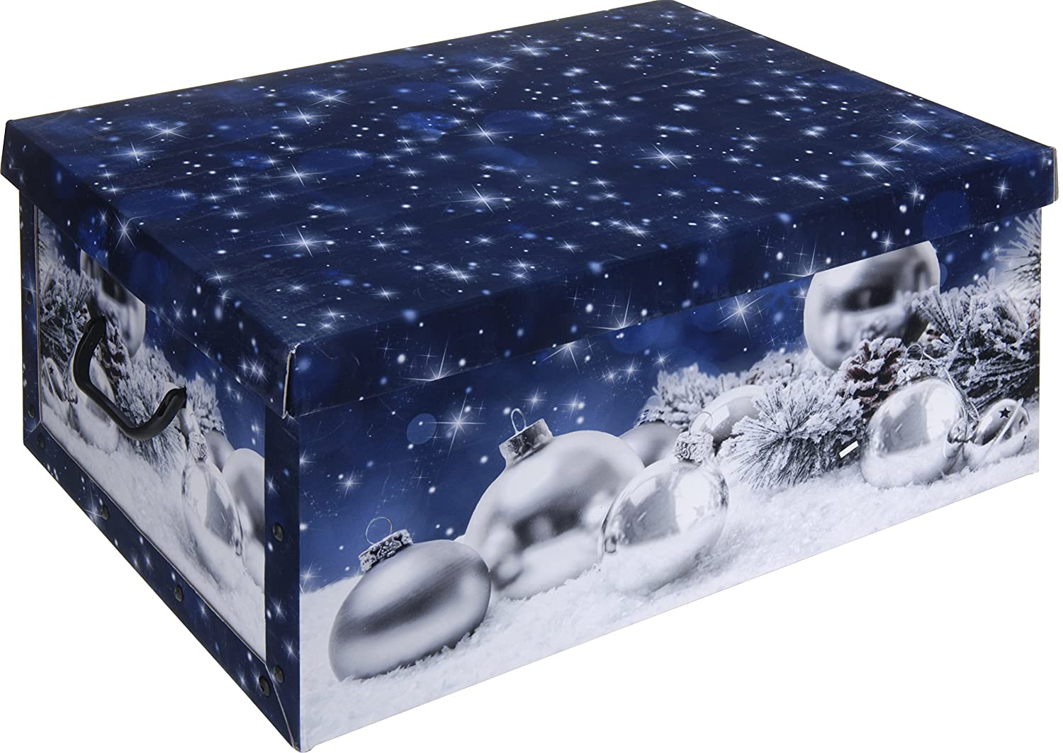 rammento cardboard large storage boxes with lids and handles christmas storage box effect design red baubles