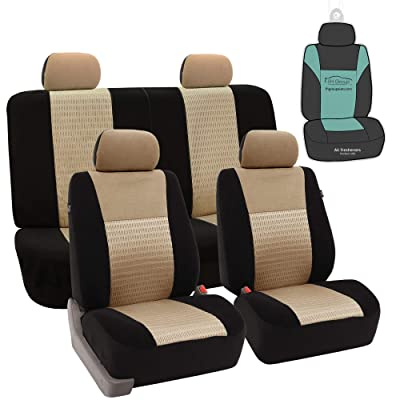 FH Group FB060114 Trendy Elegance 3D Air Mesh Full Set Car Seat Covers (Airbag & Split Ready) w. Gift, Beige/Black- Universal fit for Cars, auto, Trucks, SUV: Automotive