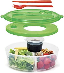 Innovia Imports 6 pc Container salad continer, lunch box, Green