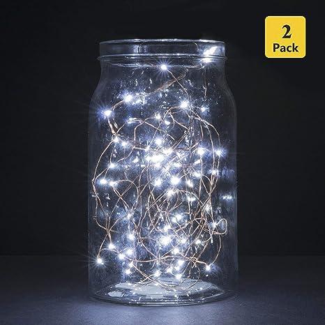 B-right Luces Led a Pilas Jard/ín Navidad Habitaci/ón Fiestas Blanco C/álido,Guirnalda Led Pilas Decorativa para Interior//Exterior Boda Terraza,etc. 2x 3 Metros 30 Micro LED