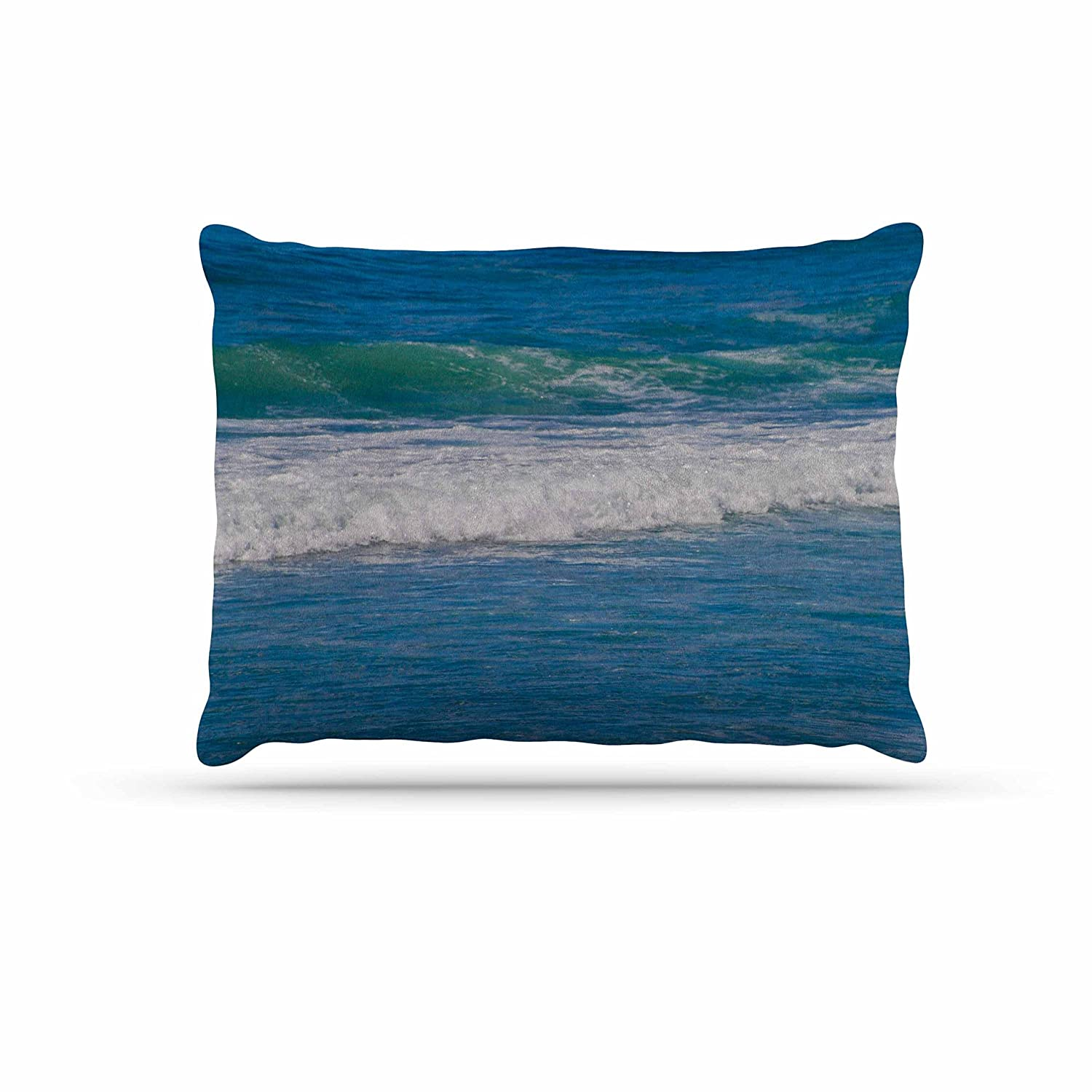 Kess InHouse Nick Nareshni Solana Beach Rolling Waves  bluee Coastal Fleece Dog Bed, 30 by 40
