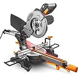 TACKLIFE PMS01X Troncatrice Radiale 1500W Lama Ø 210 con Laser Sega Velocità 4500rpm Lama 210mm con Base Regolabile in Senso Orario e Antiorario 0-45° Angolo di taglio regolabile 0-45° con una Lama per Tagliare Legno