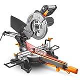 Troncatrice Radiale con Laser 1500W Tacklife PMS01X Sega Veloctià 4500rpm con Base Regolabile in Senso Orario e Antiorario 0-45° Angolo di taglio regolabile 0-45° con una Lama per Tagliare Legno