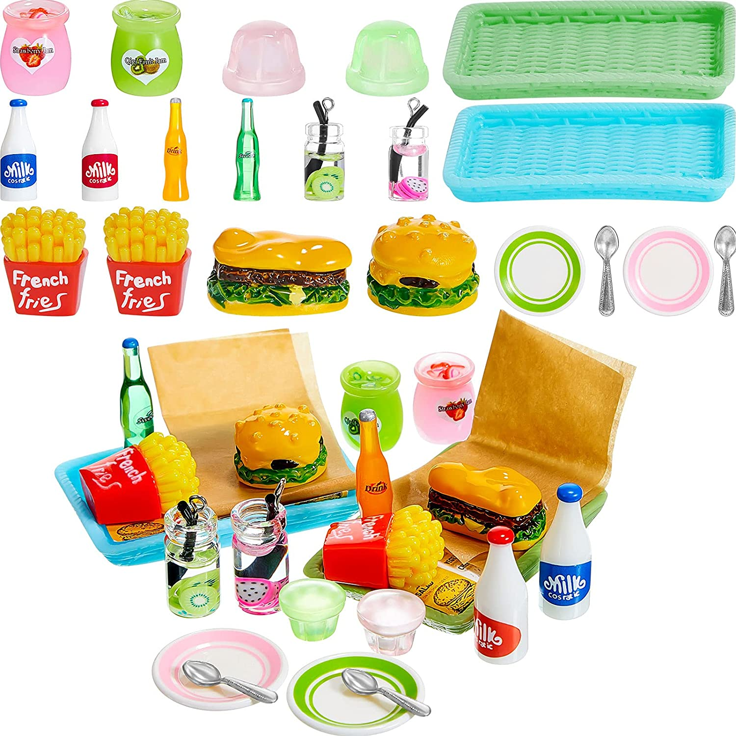 8 Pieces Miniature Food Toy Fast Food Play Set Hamburger Fries Soda Pudding Milk Juice Pretend Food Doll Food Kitchen Accessory Toy for Pretend Play Food Toys Party Accessory Bar Restaurant Decor