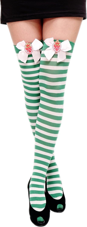 Dress Me Up Carnevale Cosplay Calze Overknee Calze al Ginocchio Calze a Righe Ragazza Verde Bianco Kawaii W-005-green