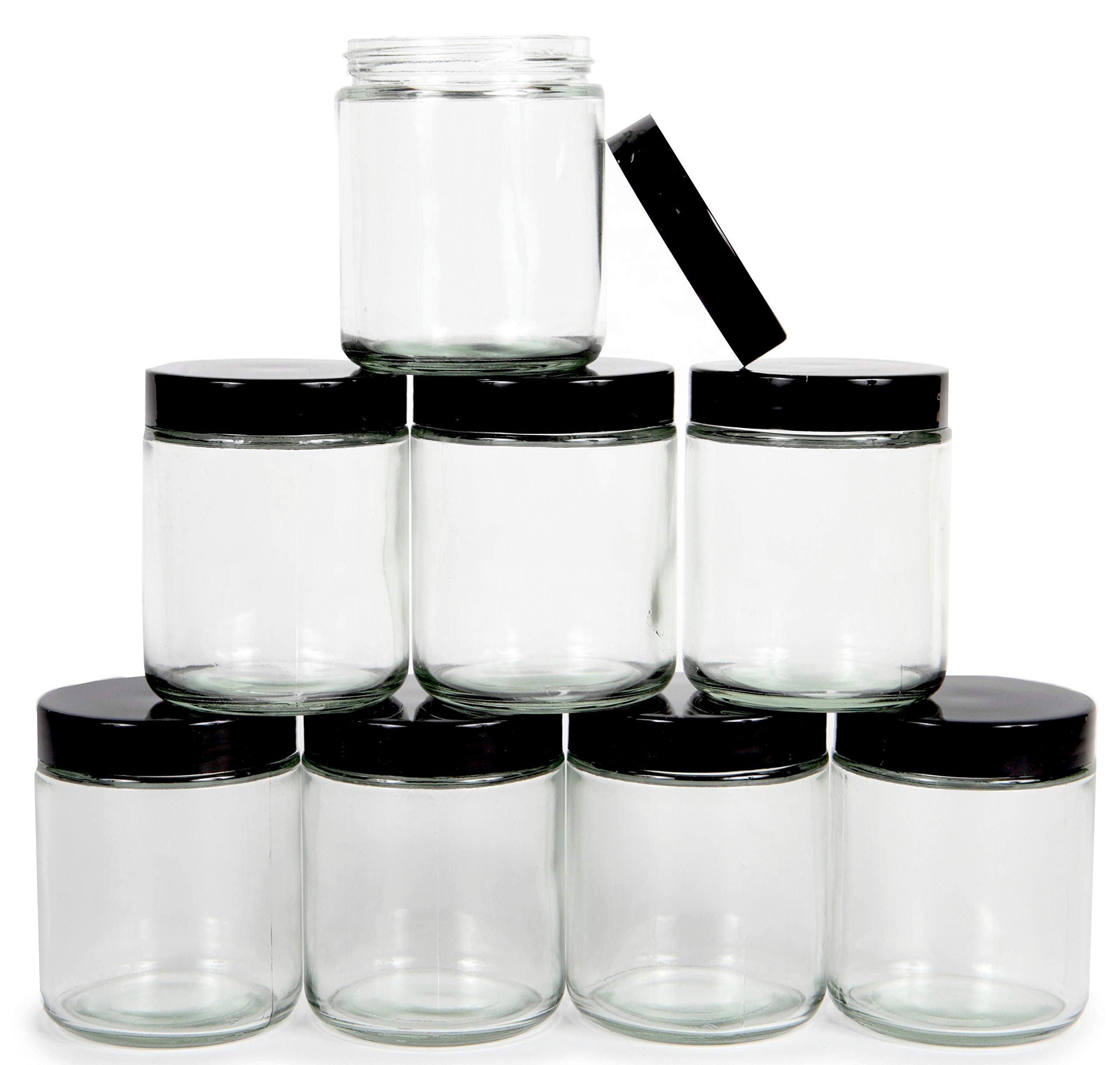 Vivaplex, Clear, 8 ounce, Round Glass Jars, with Black Lids - 8 pack