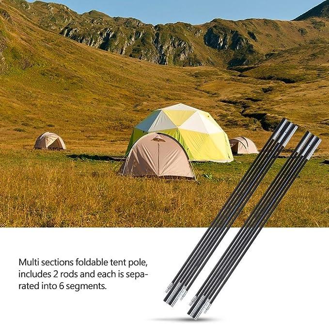 Outdoor Camping Hiking Picnic Tent Pole Fiberglass Tent Pole Kit Frame Black