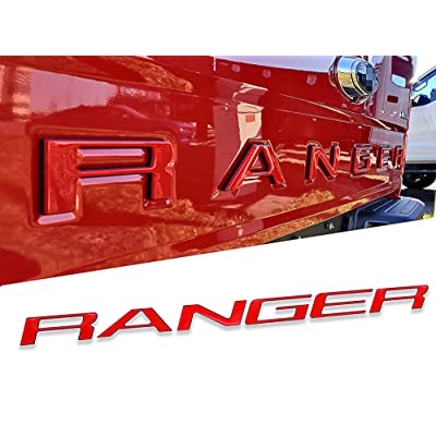 AUTO PRO ACCESSORIES Tailgate Insert Letters Fits 2020-2020 Ford Ranger, Not Decals Double Layer Emblems (Red with Black Outline): Automotive