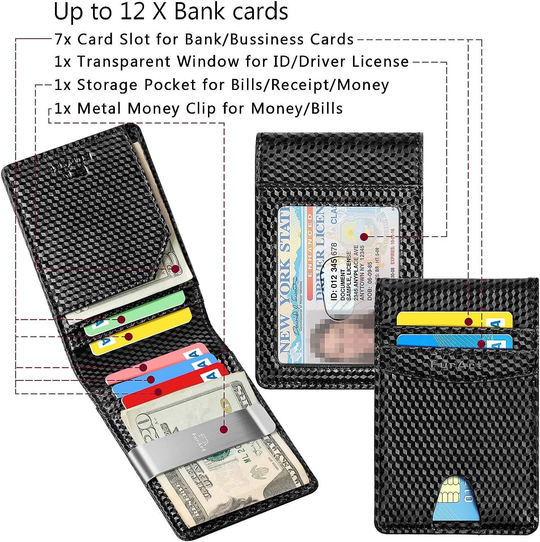 Genuine Leather Slim Minimalist Wallets with Money Clips RFID Blocking,Credit Card Holder FurArt Bifold Wallet