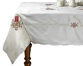 Violet Linen Seasonal Christmas Candles Vintage Holiday Embroidered Design  Oblong/Rectangle Tablecloths, 70u0026quot;