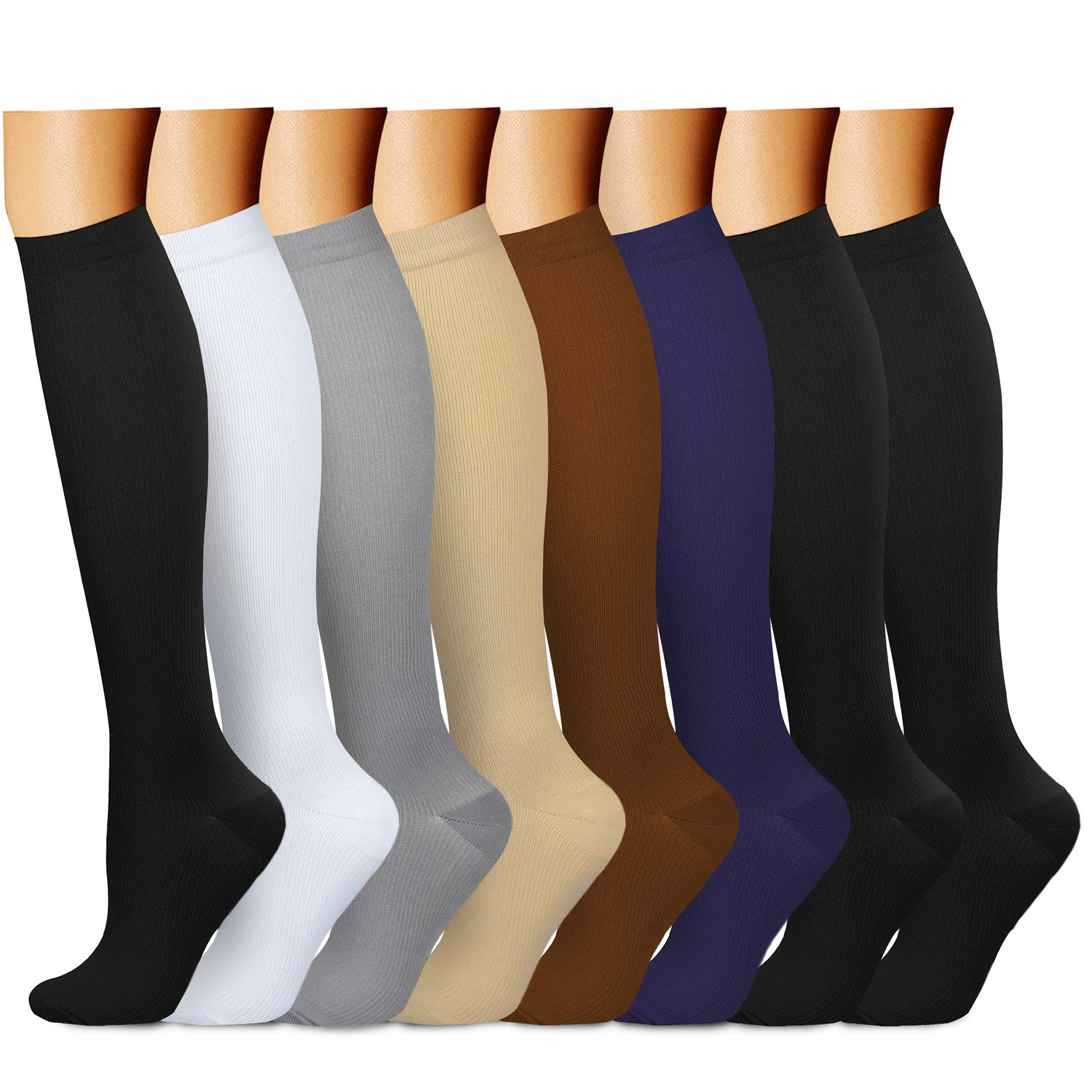 CHARMKING Compression Socks 15-20 mmHg is Best Graduated Athletic & Medical for Men & Women Running, Travel, Nurses, Pregnant - Boost Performance, Blood Circulation & Recovery (Small/Medium,Assorted)