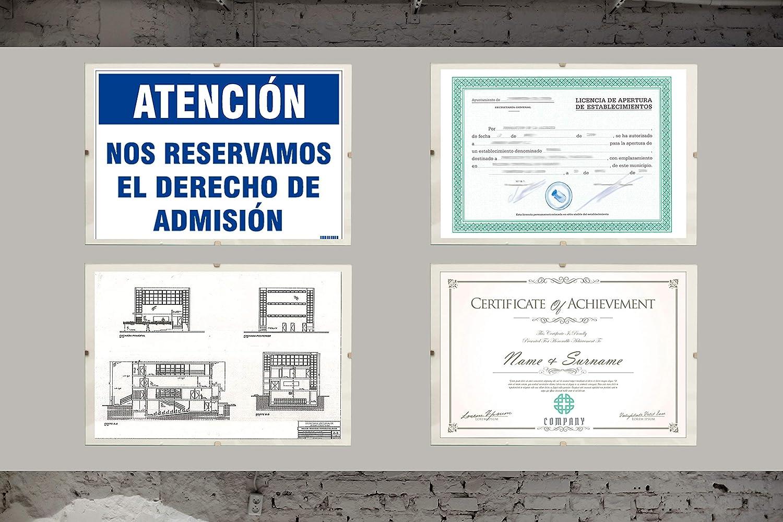 certificados y Recuerdos 40x60 cm Complemento Ideal para Colgar en la Pared. Chely Intermarket Soporte sin Marco para fotograf/ías Marco Clip de metacrilato Posters