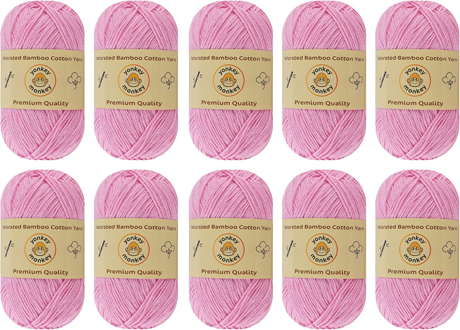 Lightweight and Breathable Fabric Threads Softest Quality Crocheting 30/% Cotton 10-Pack Set Yonkey Monkey Skein Tencel Yarn 210 Meters Knitting Supplies 70/% Bamboo Fiber
