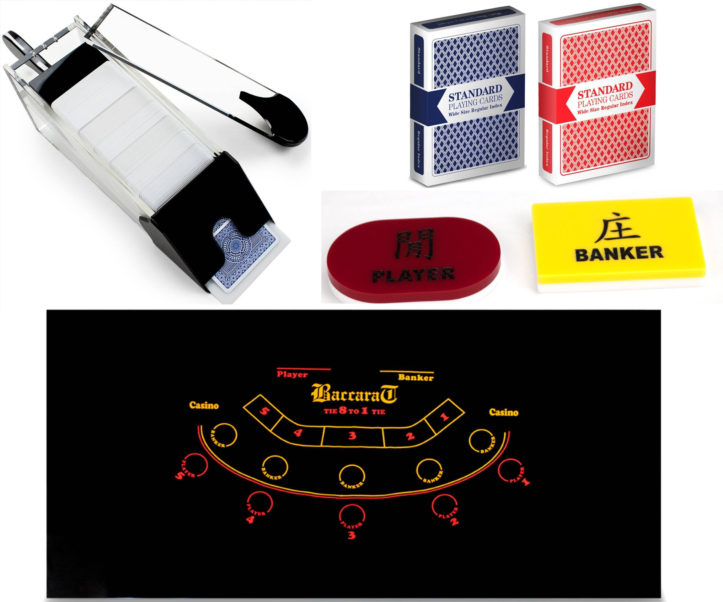 Poker Supplies Professional Casino Style Portable Baccarat Set - Play Baccarat At Home!