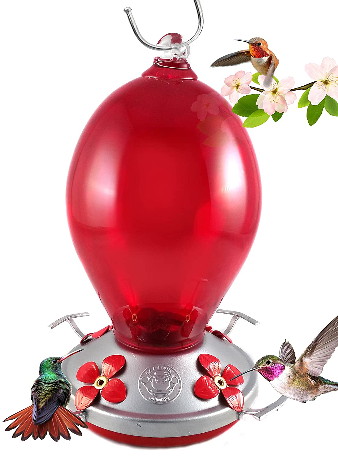 Grateful Gnome - Hummingbird Feeder - Hand Blown Glass - Red Egg - 28 Fluid Ounces