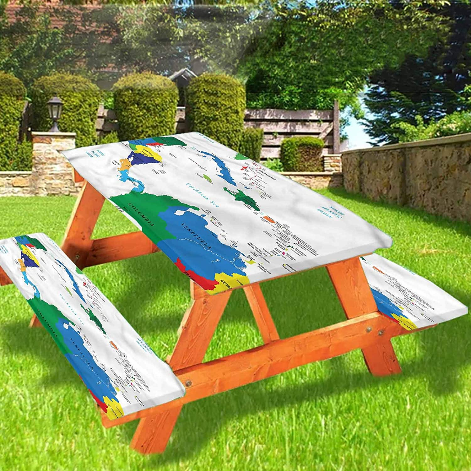 Lyzelre Map Picnic Table and Bench Fitted Tablecloth Cover,Central America Islands Elastic Edge Fitted Tablecloth,28 x 72 Inch, 3-Piece Set for Camping, Dining, Outdoor, Park, Patio