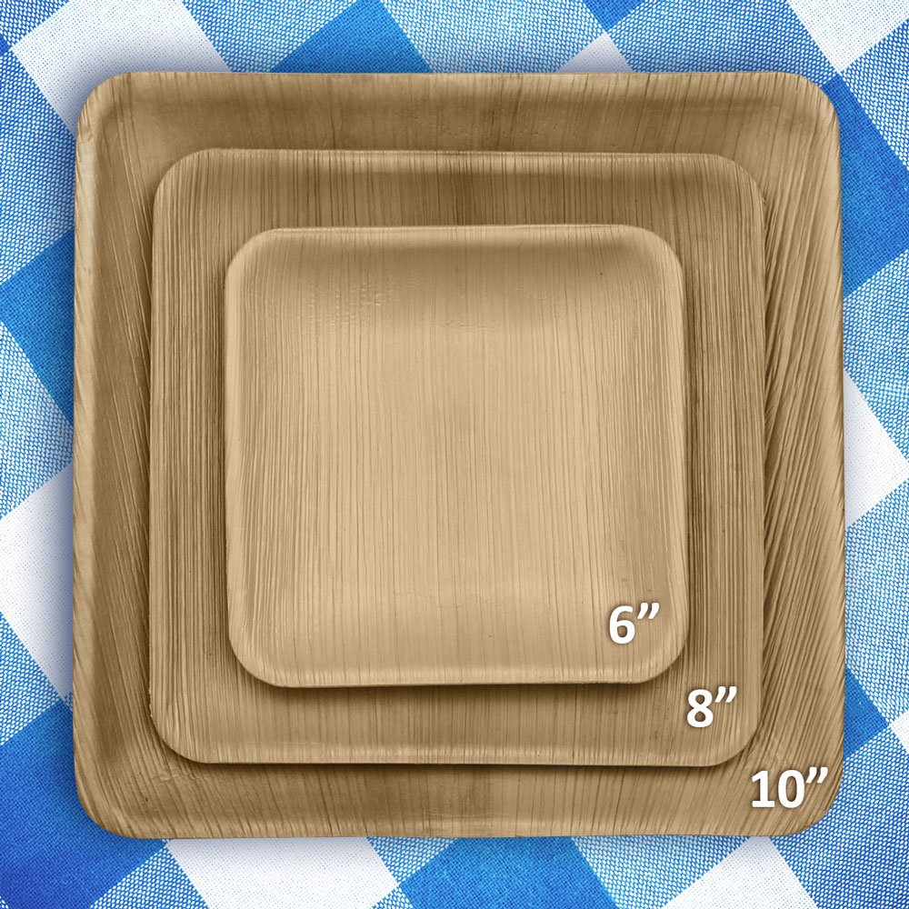 6'' Square Disposable Palm Leaf Paper Plates: Compostable, Biodegradable Heavy Duty Dinner Party Plate - Comparable to Bamboo Wood - Elegant Plant Based Dishware: (25 Pack) by Naturally Chic Dinnerware (Image #2)