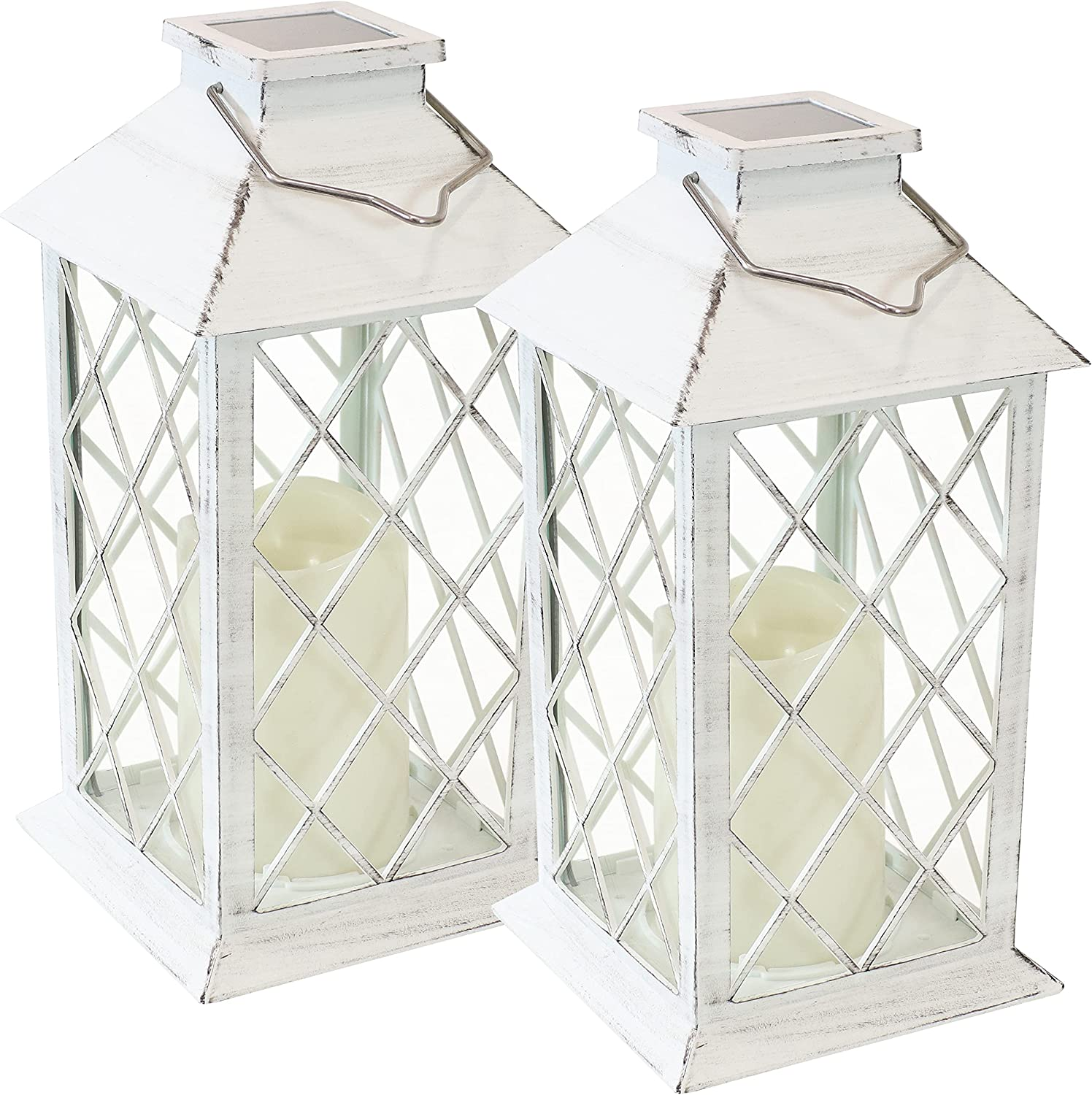 Sunnydaze Concord Outdoor Solar LED Decorative Candle Lantern - Rustic Farmhouse Decor for Patio, Porch, Deck and Garden - Tabletop and Hanging Outside Light - Set of 2 - 11-Inch - White