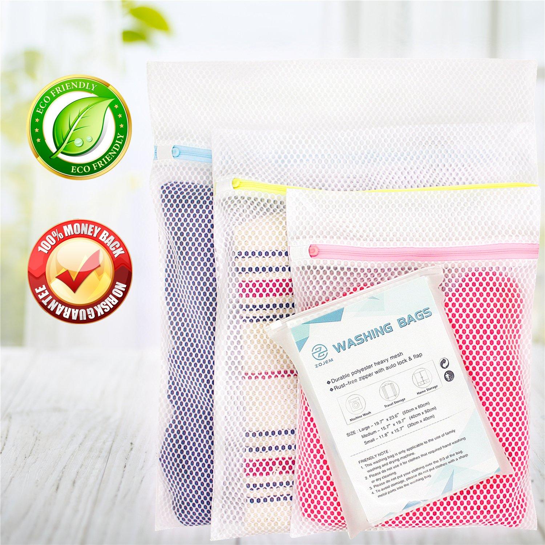 zOJEMおしゃれ着用洗濯バッグ3パックメッシュランドリーバッグ洗濯バッグ大Medium Small for洗濯マシンrust-freeファスナー付きロック旅行衣類ランジェリーストッキング下着ストレージオーガナイザー B07GCQYHB2 White Mesh Laundry Bag