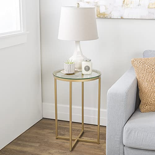 Millie 16 Inch Round Glass Side Table