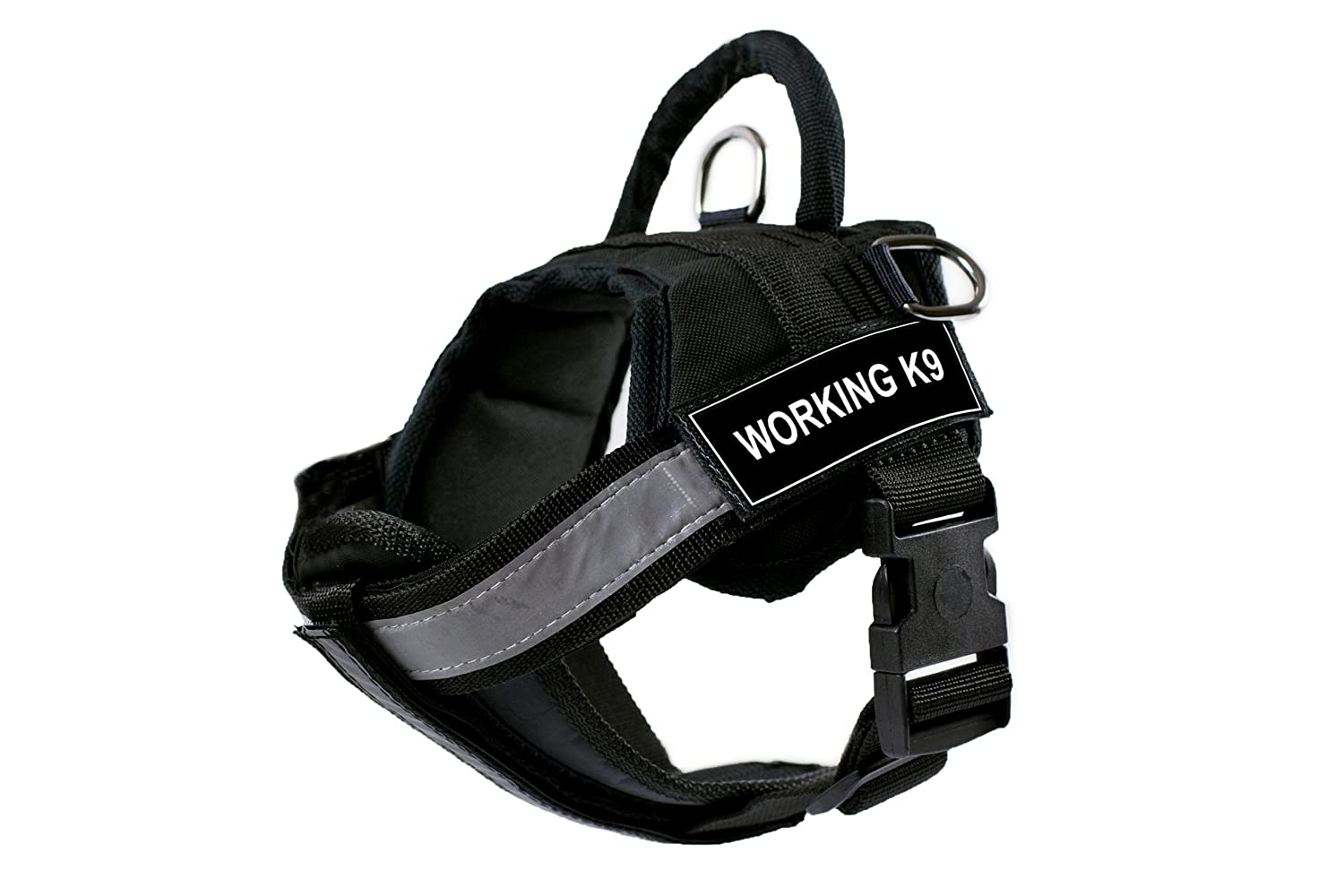 DT Works Harness with Padded Reflective Chest Straps, Working K9, Black, Small, Fits Girth Size  25-Inch to 34-Inch