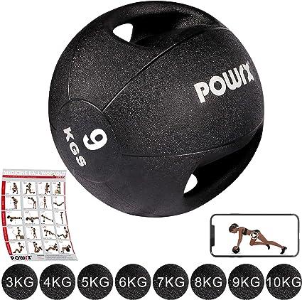 POWRX - Balón Medicinal con Asas 9 kg + PDF Workout (Negro ...