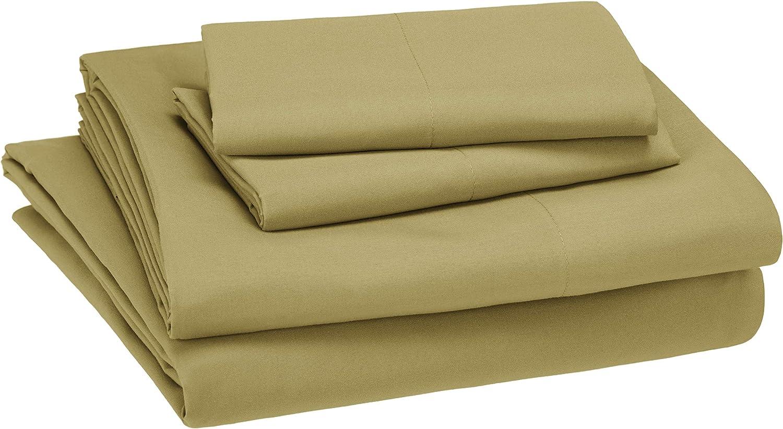 AmazonBasics Easy-Wash Microfiber Kid's Bedding Sheet Set - Full, Mossy Green