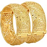 Mansiyaorange Traditional One Gram Gold Original Style Screw Openable Two Broad Hand Made Wax Forming Two Golden Bangles for Women