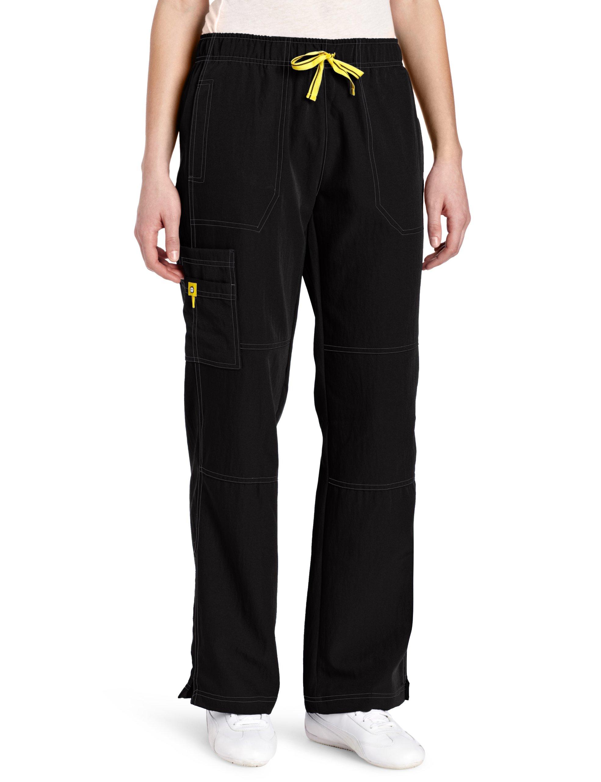 WonderWink Women's Scrubs Four Way Stretch Sporty Cargo Pant, Black, X-Large