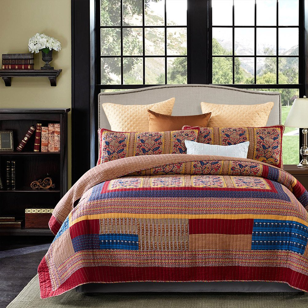 King Size Vintage.Lecoda Cotton Bedspread Vintage Jacquard Style Bohemian King Comforter Reversible 3 Piece Patchwork Quilt Sets Bedspread King Size Vintage