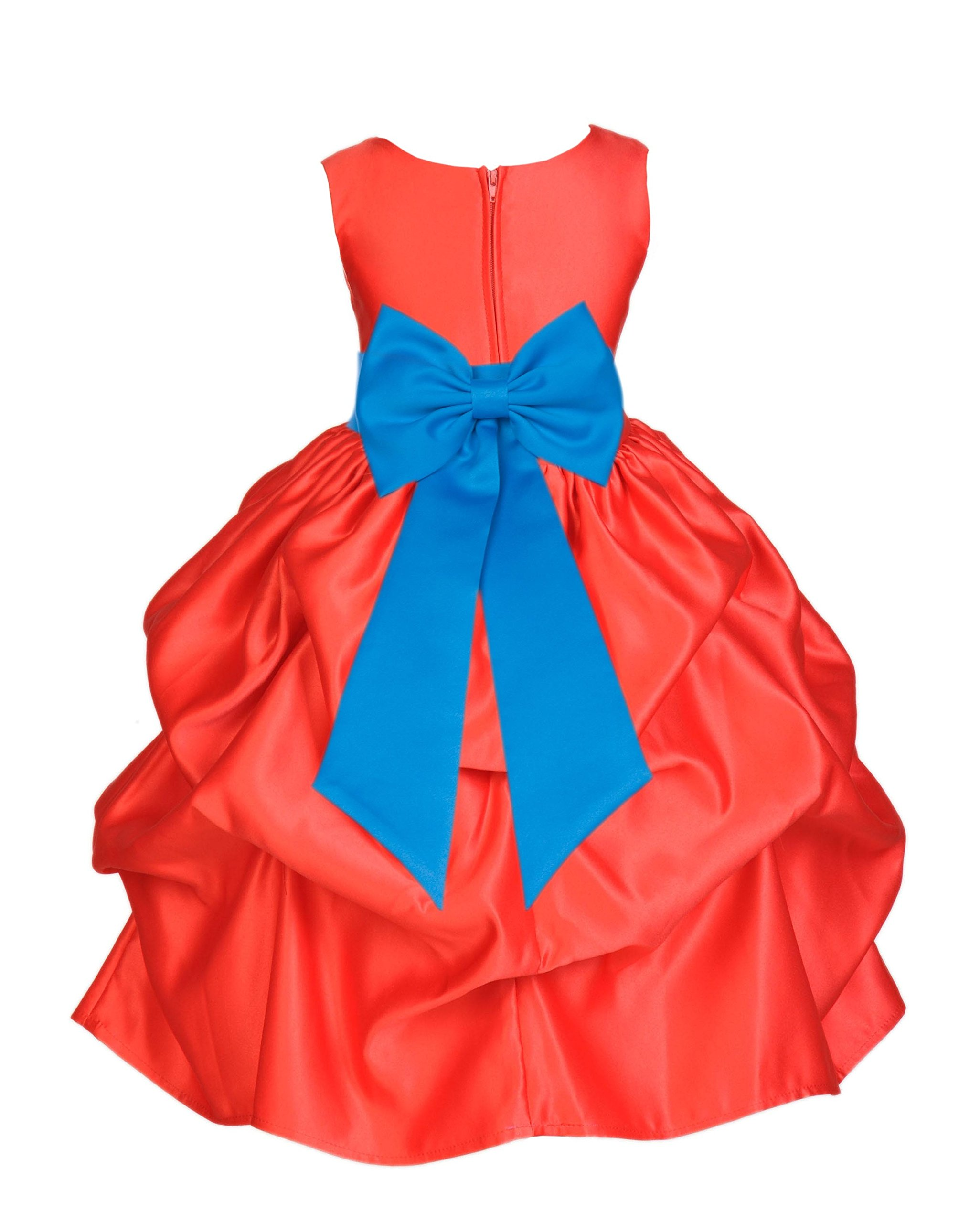 ekidsbridal Red Pick-Up Satin Bubble Flower Girl Dress Ballroom Dance Dresses 208T 10
