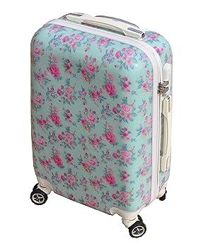VINTAGE AQUA ROSE BLUE & PINK LARGE 28 SUITCASE LUGGAGE CASE HARD ...