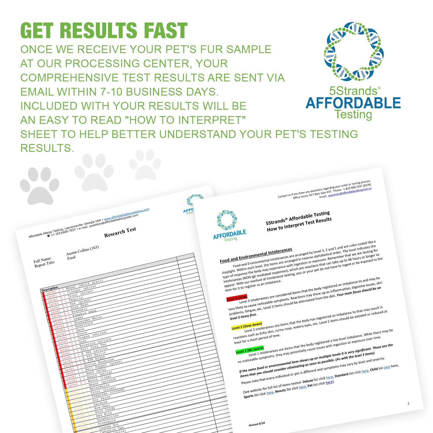 5Strands | Affordable Pet Test | 200 Food Ingredients & 100 Environmental Items Tested Cat & Dog | Allergy Sensitivity & Intolerance at Home Collection Test Kit | Hair Analysis | (Pet 300) by 5Strands (Image #7)