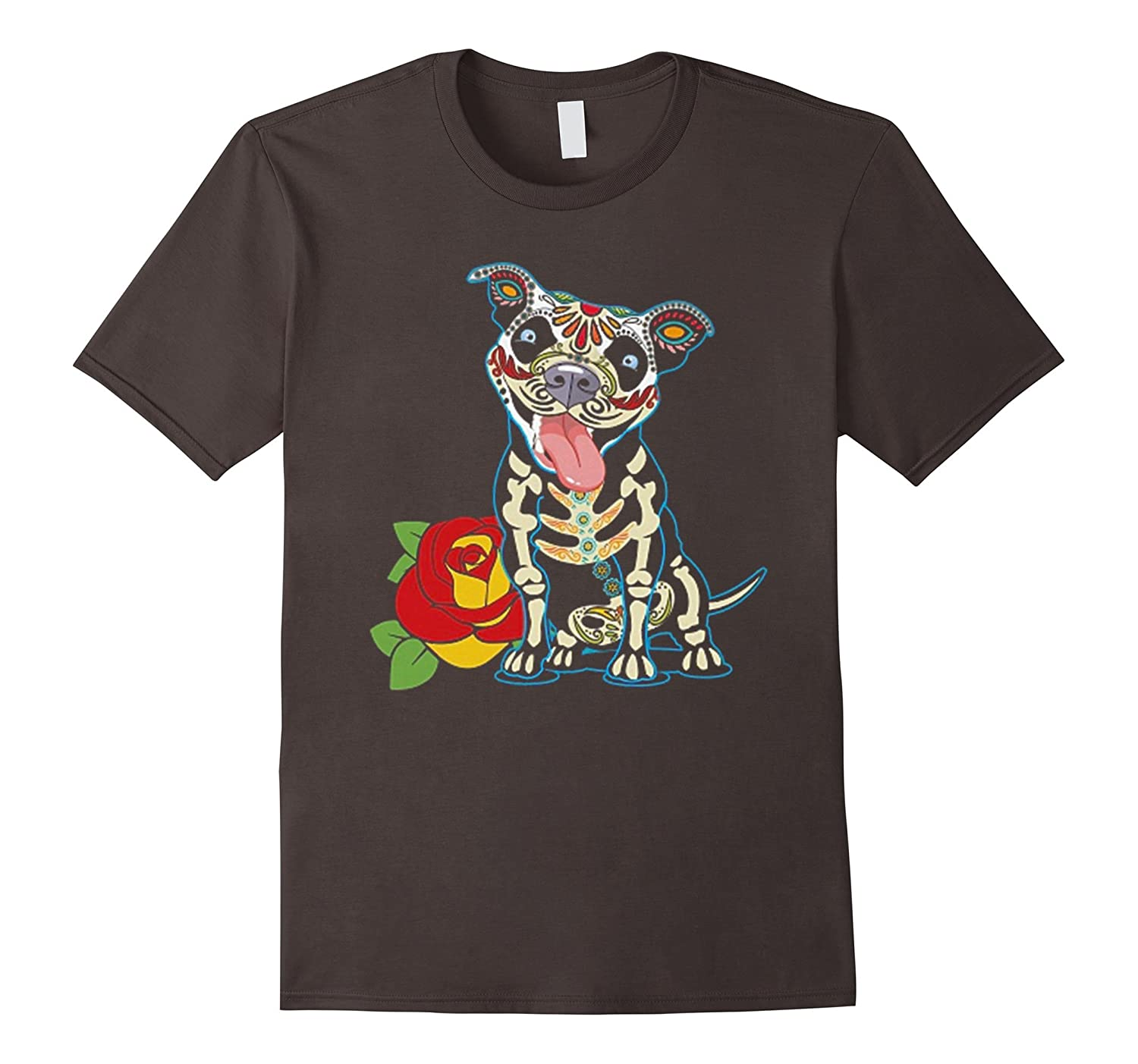 Day of The Dead Pitbull Tshirt-Veotee