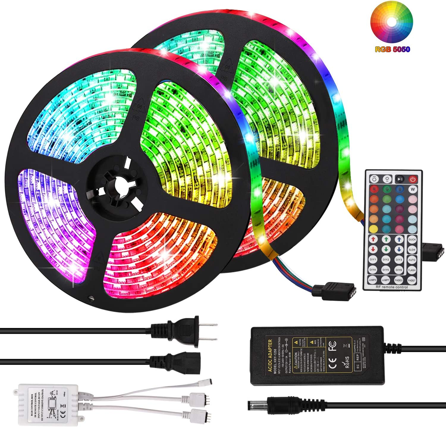 LED Strip Lights, Targherle 33ft/10M Led Light Strip SMD 5050 IP65 Waterproof RGB Flexible Light Strip Kit with 44 Key IR Remote RGB Controller, Strengthen 3M Tape, 12V 5APower Supply