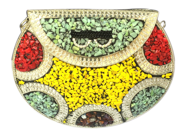 Batu Lee Handmade Antique METAL, GLASS BEADS & LAC WORK Clutch Purse Wallet hard Handbag with Silver Chain Multi Elipse Shape for Women