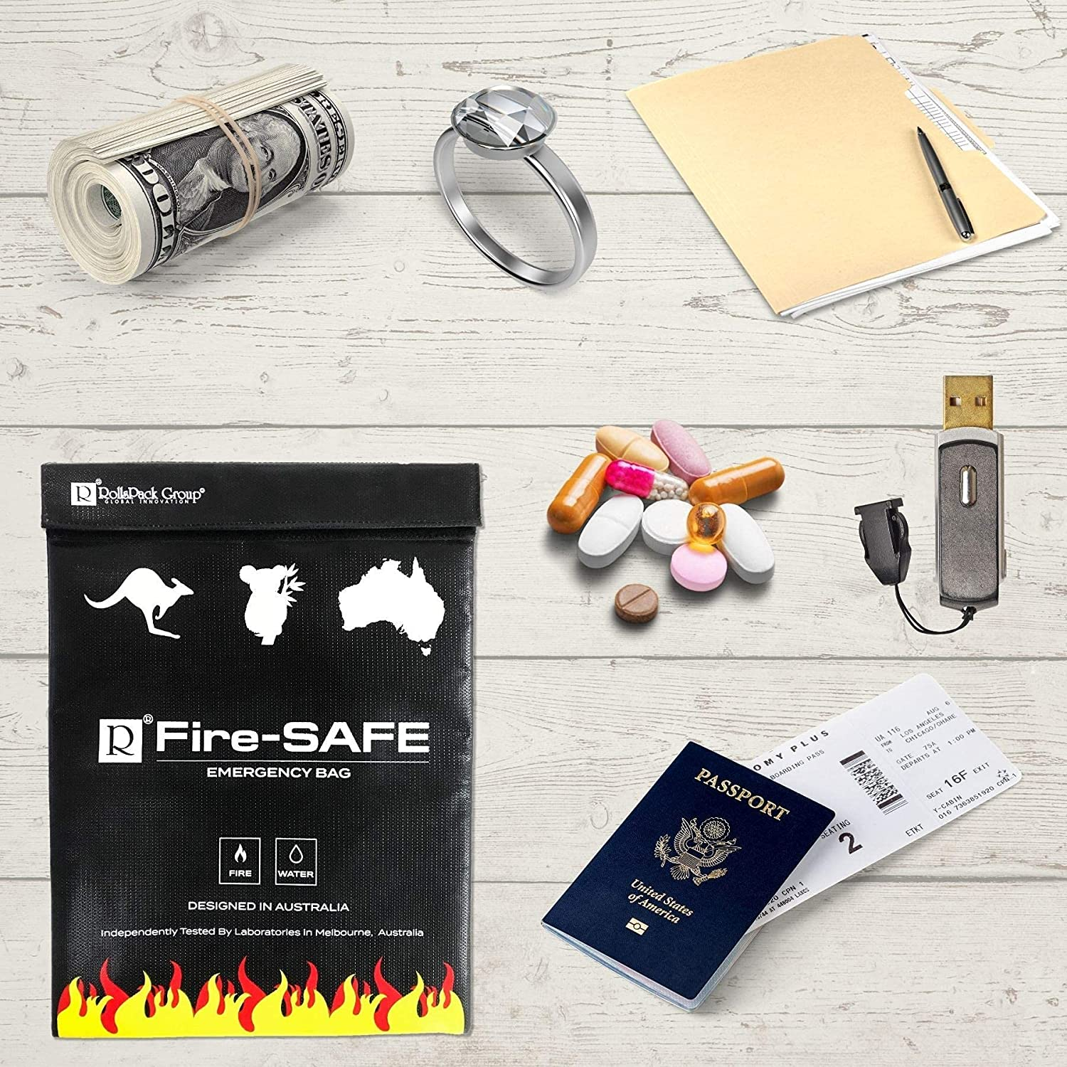 Fireproof/Waterproof Safe Bag - Fire Resistant Bag to Protect Your Items, The FireSafe is Both A Document Bag & A Fire Bag, This Fire Resistant Document Bag Has Been Independently Tested.: Office Products