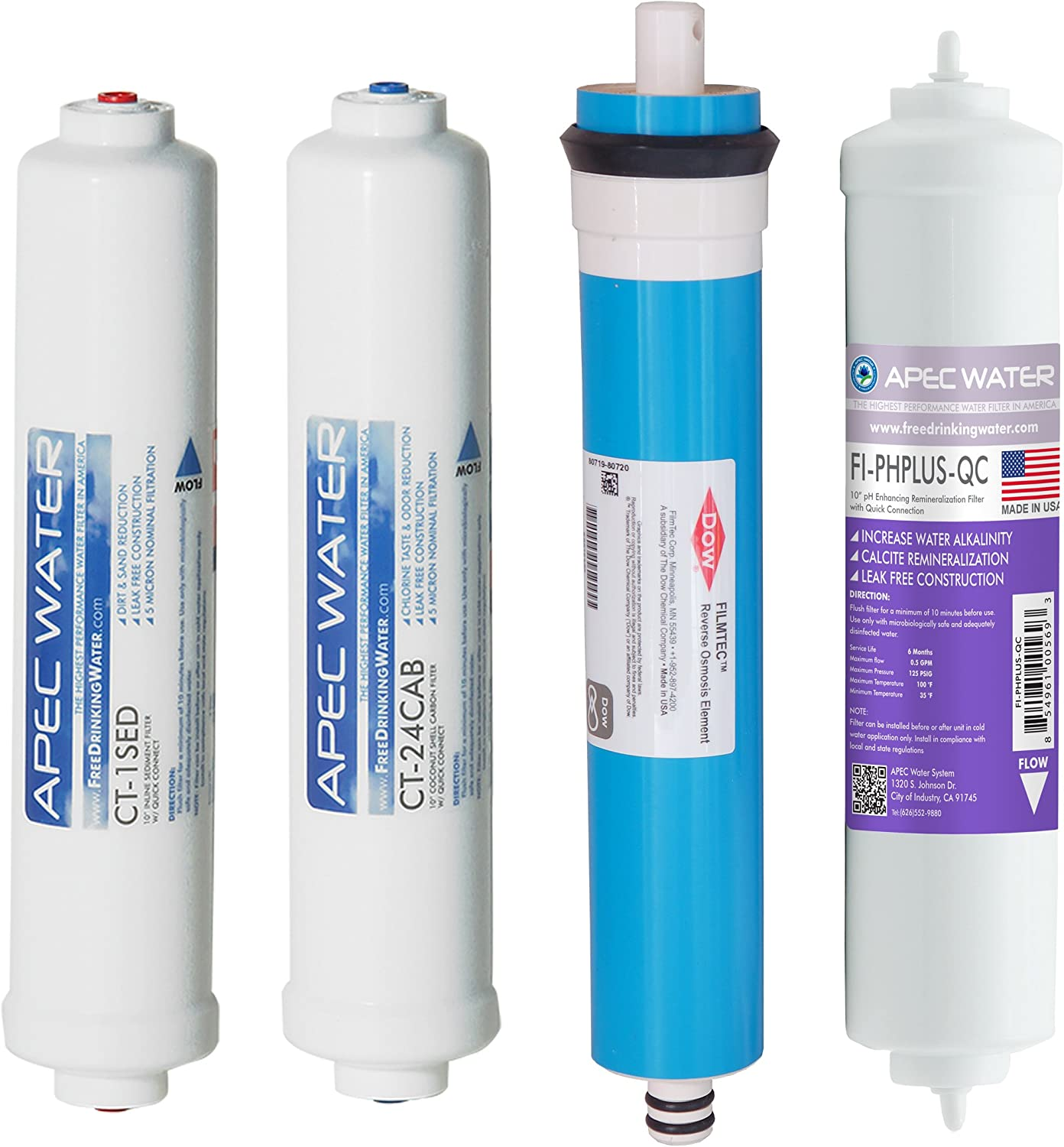 APEC FILTER-MAXCTOP-PH US MADE 90 GPD Complete Replacement Filter Set for ULTIMATE Series Countertop Alkaline Reverse Osmosis Water Filter System: Home Improvement
