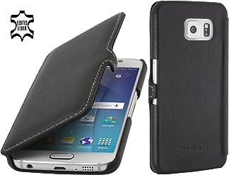 StilGut Book Type Case con Clip, Custodia in Pelle a Libro per Samsung Galaxy S6, Nero Nappa