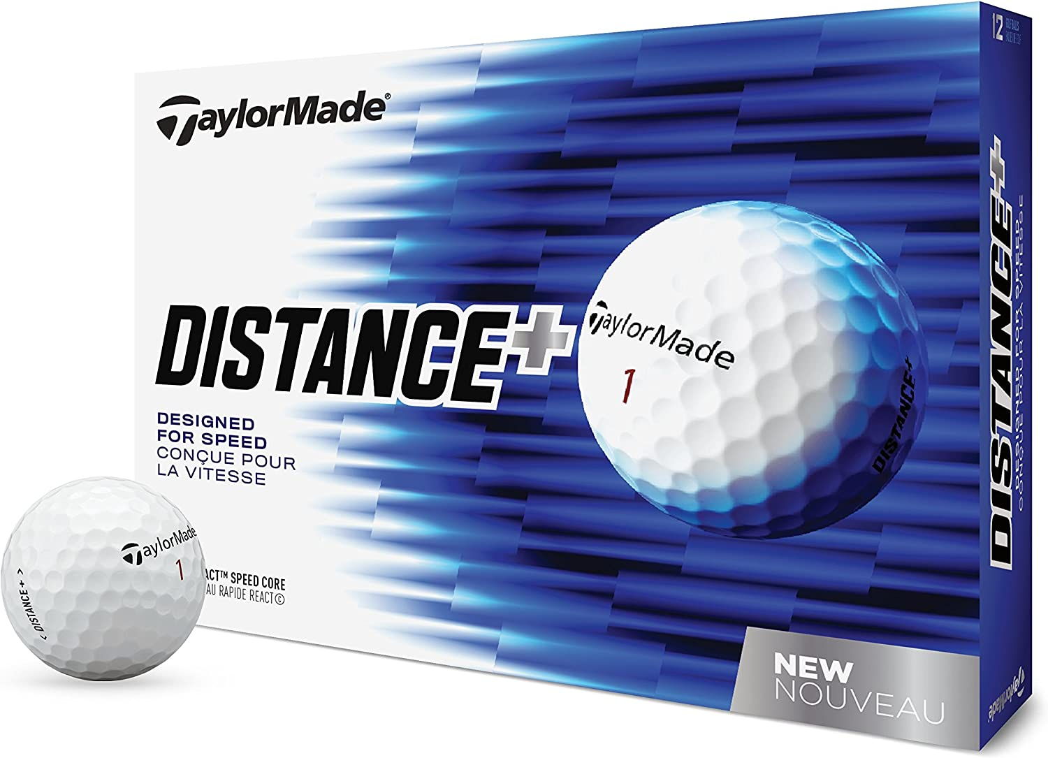 Amazon.com : TaylorMade 2018 Distance+ Golf Ball, White (One Dozen ...