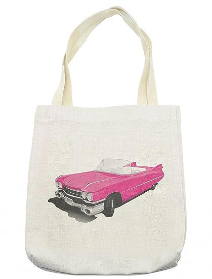 d111ea78267 Lunarable Pink Tote Bag, Classic Convertible Car Sports Vehicle  Illustration Vintage Design Print, Cloth